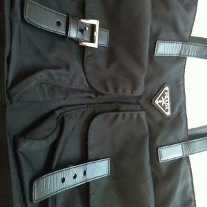 Prada messenger black nylon with leather straps